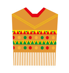 Poncho icon flat style mexican traditional vector