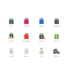 Present boxes color icons on white background vector image