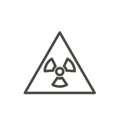 radioactive warning icon line toxic symbol vector image