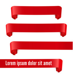 red realistic ribbon banners set vector image