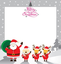 Santa with Dog and Reindeer Border vector image