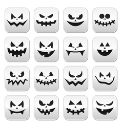 Scary Halloween pumpkin faces buttons set vector image