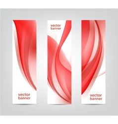 Set abstract wavy red banners vertical vector