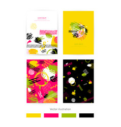 set cards with blots set cards vector image