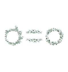 set decorative frames and wreaths green vector image