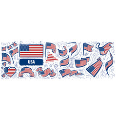 set national flag usa in various vector image