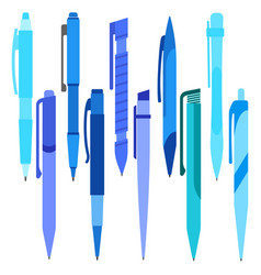 Set of blue pens on a white background vector
