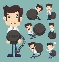 Set of businessman burden with Debt vector