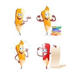 set of cute funny pencil cartoon vector image