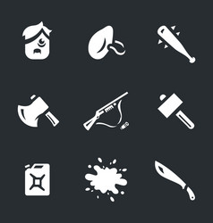 Set survival tools icons vector