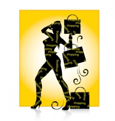 shopping girl silhouette vector image