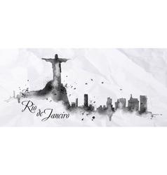 Silhouette ink Rio de Janeiro vector
