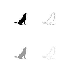 Silhouette of the wolf black and grey set icon vector