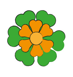 Single yellow and green flower icon image vector