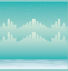 skyline city urban winter snow vector image
