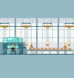 Smart industrial factory in a flat style with vector