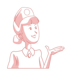 smiling nurse in presenting pose isolated vector image