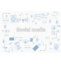 social media communication concept internet vector image