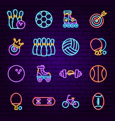sport neon icons vector image