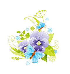 Spring flower icon viola pansy floral symbol with vector