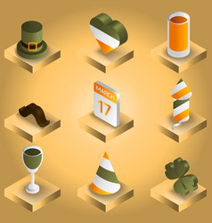stpatricks day gradient isometric icons vector image