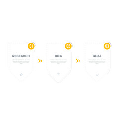 three step timeline infographic step step vector image