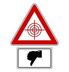 Traffic sign with thumbs down for targets vector