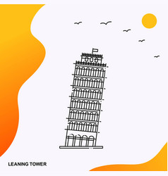 travel leaning tower poster template vector image