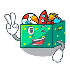 Two finger cartoon toy boxes in a bedroom vector