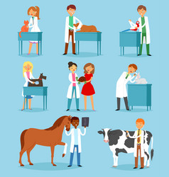 Veterinary veterinarian doctor man or woman vector