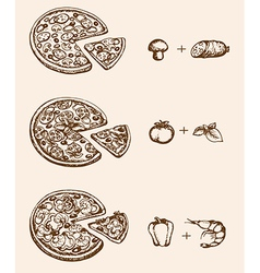 Vintage hand drawn pizza and ingredients vector