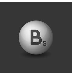 Vitamin B5 Silver Glossy Sphere Icon on Dark vector