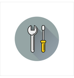 web line icon wrench and screwdriver vector image