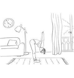 woman doing yoga standing in half forward bend vector image