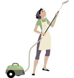 Woman with a vacuum cleaner vector image