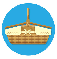 wooden basket for summer picnics vector image