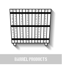 wooden bathtub flat icon of barrel products vector image vector image