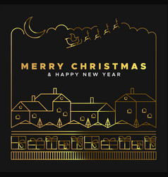 year gold winter city landscape card vector image