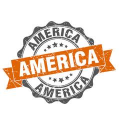 america round ribbon seal vector image