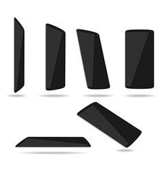Black thin smartphones face different vector image vector image