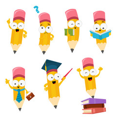 cute cartoon pencil characters set vector image vector image