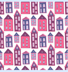 houses seamless pattern sweet pink girlish vector image