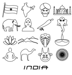 india country outline theme symbols set eps10 vector image vector image