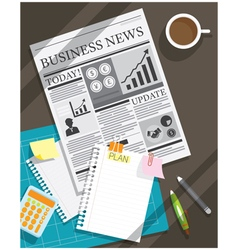 Newspaper and blank paper object background vector