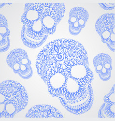 ornamental pattern skull seamless texture vector image