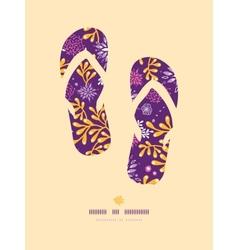Purple and gold underwater plants flip flops vector image