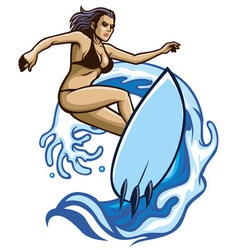 surfer girl vector image vector image