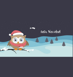 female owl with santa claus hat on a branch in a vector image