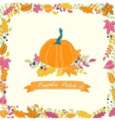 Pumpkin patch card design vector
