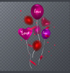 red balloons isolated on transparent background vector image